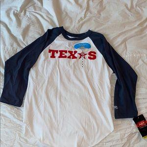 Texas baseball 3/4 length raglan